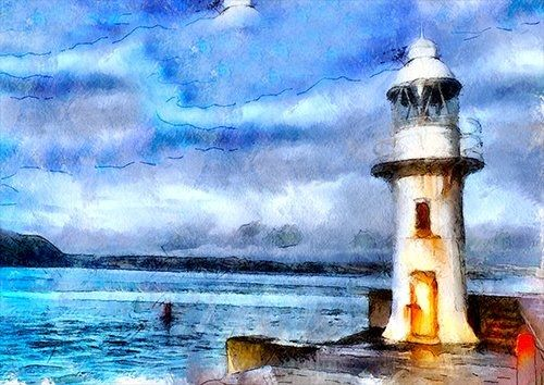 Brixham lighthouse uk, Black colour - From £17.50 | Metal Plate Pictures