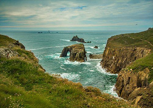Cornwall waves and rocks, Black colour - From £17.50 | Metal Plate Pictures