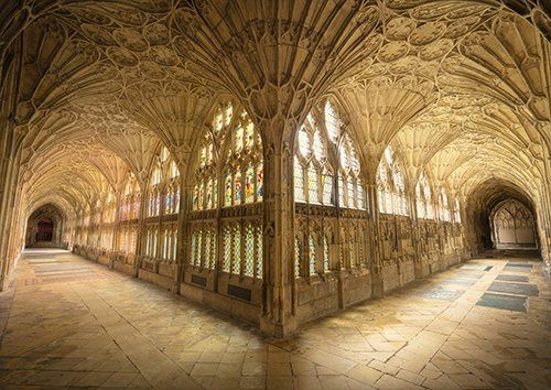 Gloucester cathedral arches UK, Black colour - From £17.50 | Metal Plate Pictures