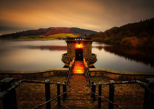 Ladybower Reservoir In Derbyshire, Black colour - From £17.50   Metal Plate Pictures