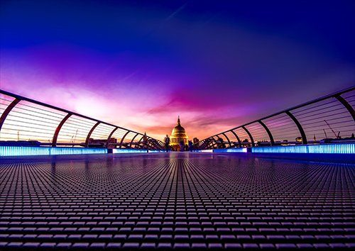 London a Bridge Looking at St Pauls, Black colour - From £17.50 | Metal Plate Pictures