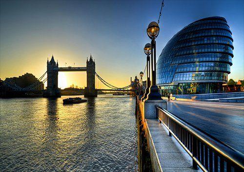 London bridge dusk evening, Black colour - From £20.50 | Metal Plate Pictures