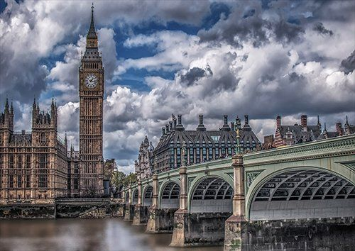 London bridge with big ben, Black colour - From £17.50 | Metal Plate Pictures
