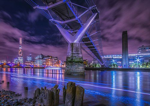 London city a night dramatic sky, Black colour - From £17.50 | Metal Plate Pictures