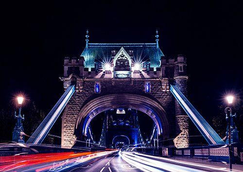 London tower bridge night, Black colour - From £17.50 | Metal Plate Pictures