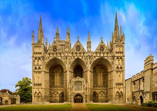 Peterborough cathedral UK, Black colour - From £17.50 | Metal Plate Pictures