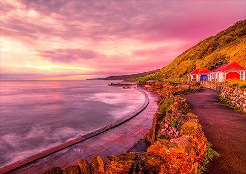 Scarborough Sunrise Seascape Coast UK, Black colour - From £17.50 | Metal Plate Pictures