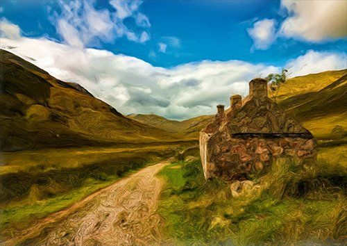 Scotland mountain hils painting, Black colour - From £17.50 | Metal Plate Pictures