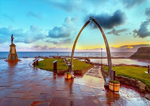 Whale Bones Whitby Harbour Captain Cook UK, Black colour - From £17.50 | Metal Plate Pictures