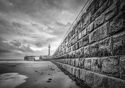 Whitby Beach coastline, Black colour - From £17.50 | Metal Plate Pictures