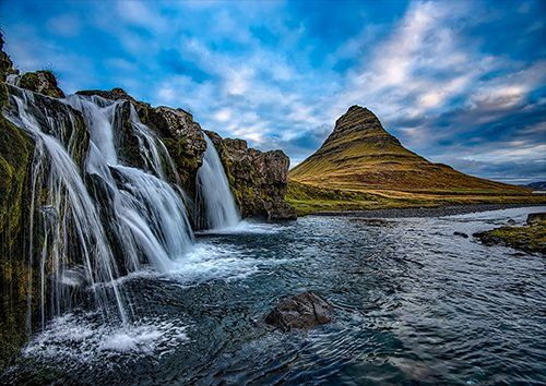 Blue sky cascading waterfall in iceland, Black colour - From £17.50 | Metal Plate Pictures