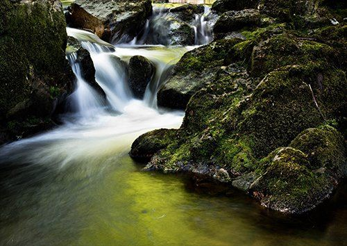Waterfall In rocks and moss, Black colour - From £17.50 | Metal Plate Pictures