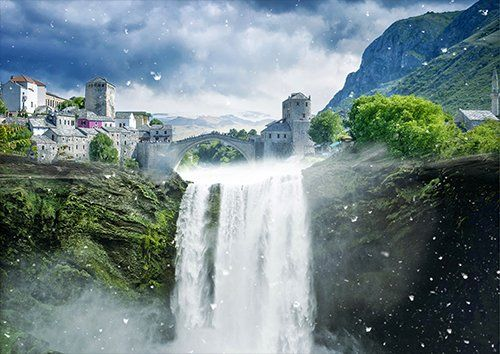 Fantasy lost city waterfall, Black colour - From £17.50 | Metal Plate Pictures