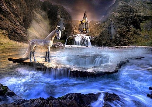 Unicorn waterfall fantasy, Black colour - From £17.50 | Metal Plate Pictures