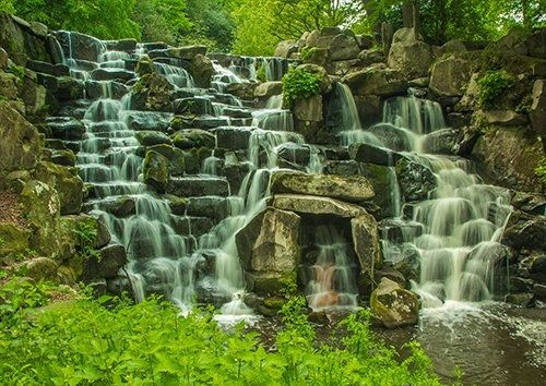Waterfall Virginia Water Nature, Black colour - From £17.50 | Metal Plate Pictures