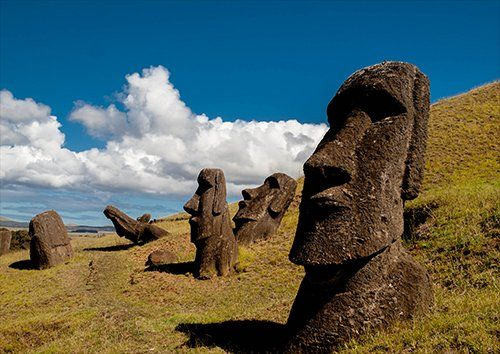 Chile easter island rapa nui moai statue carved, Black colour - From £17.50 | Metal Plate Pictures