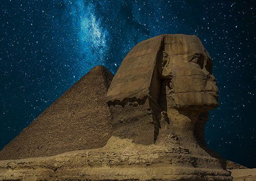 Sphinx at night, Black colour - From £17.50 | Metal Plate Pictures