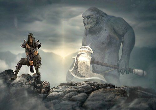 Orc and the Warrior fantasy, Black colour - From £17.50 | Metal Plate Pictures