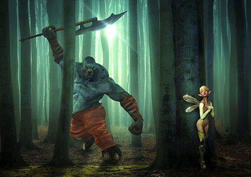 Orc hunting a  fairy fantasy, Black colour - From £17.50 | Metal Plate Pictures