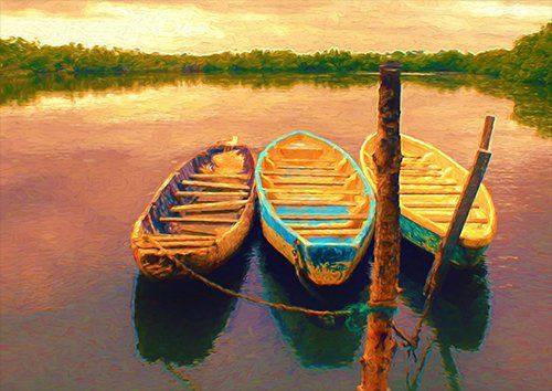 Boats mored up Lake Digital painting, Black colour - From £20.50 | Metal Plate Pictures
