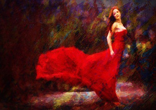Lady in Red painting, Black colour - From £17.50 | Metal Plate Pictures