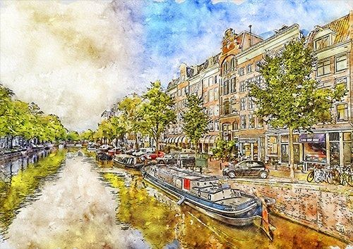 Amsterdam wat, Black colour - From £17.50 | Metal Plate Pictures