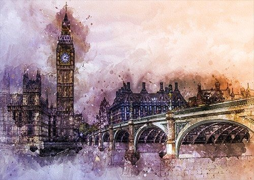 London bridge big ben wat, Black colour - From £17.50   Metal Plate Pictures