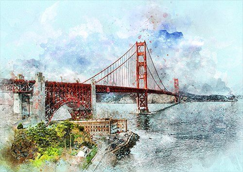 San Francisco wat, Black colour - From £17.50 | Metal Plate Pictures