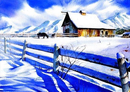 Snow on the house wat, Black colour - From £17.50 | Metal Plate Pictures
