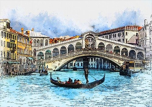 Venice bridge wat, Black colour - From £17.50 | Metal Plate Pictures