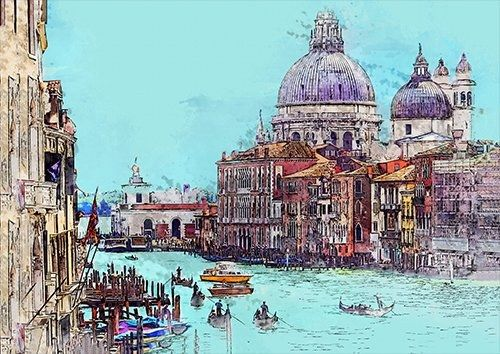 Venice wat, Black colour - From £17.50 | Metal Plate Pictures