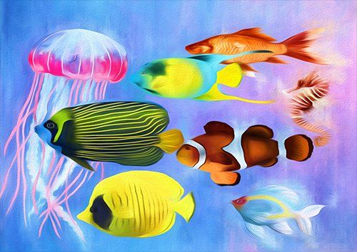 Tropical Fish art animal, Black colour - From £17.50 | Metal Plate Pictures