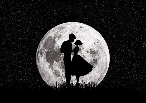 Couple in love moon, Black colour - From £17.50 | Metal Plate Pictures