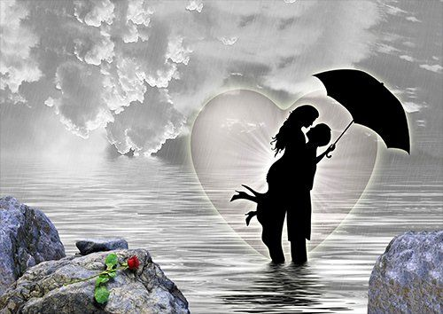 Couple in love on the lake, Black colour - From £17.50 | Metal Plate Pictures