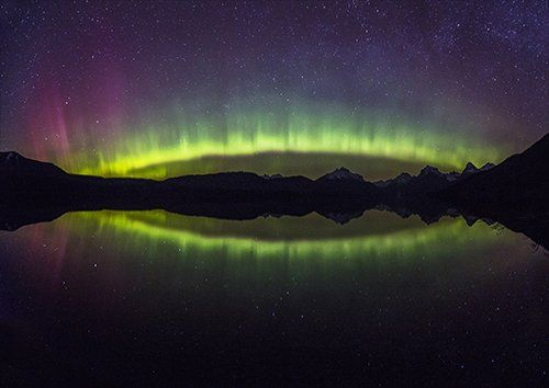 Night time lake aurora borealis, Black colour - From £17.50 | Metal Plate Pictures