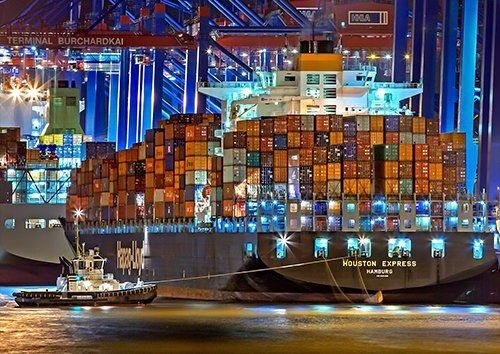 Port Of Hamburg Container Ship Germany, Black colour - From £17.50 | Metal Plate Pictures
