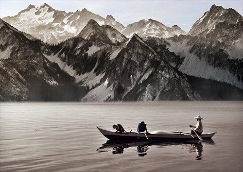 Canoeing-in-the-shadow-of-the-mountains, Black colour - From £17.50 | Metal Plate Pictures