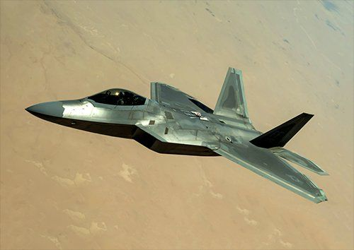 F-22 raptor in the desert aero, Black colour - From £17.50 | Metal Plate Pictures