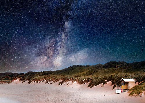 Astronomy beach coast, Black colour - From £17.50 | Metal Plate Pictures