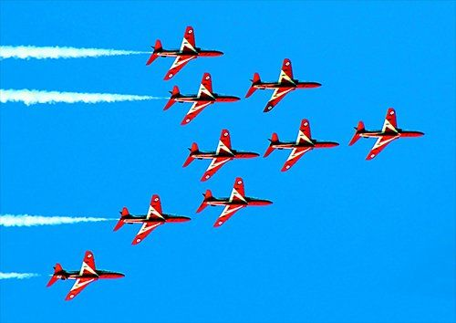 Red arrows flight formation 2 aero, Black colour - From £17.50 | Metal Plate Pictures