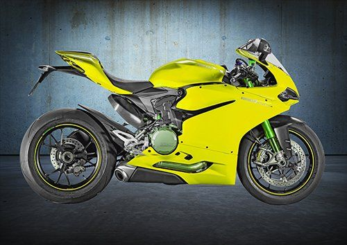 Bike Ducati 1299 Panigale Motorcycle Yellow, Black colour - From £17.50 | Metal Plate Pictures