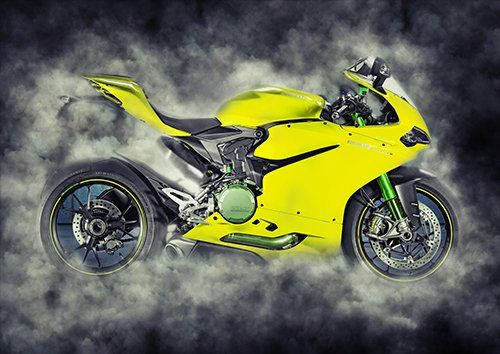 Bike Ducati 1299 Panigale Yellow Smoke, Black colour - From £17.50 | Metal Plate Pictures
