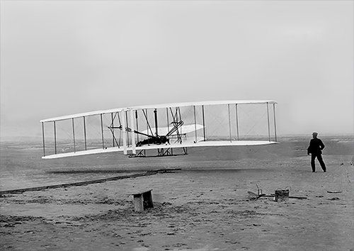 Wright brothers aero, Black colour - From £17.50 | Metal Plate Pictures