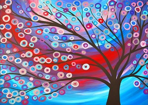 Abstract tree colourfull circles, Black colour - From £20.50 | Metal Plate Pictures