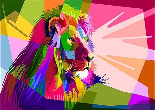 Colorful Decoration Lion Design Geometry, Black colour - From £20.50 | Metal Plate Pictures