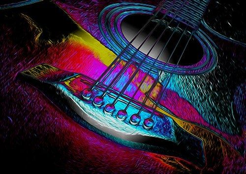 Guitar Art 2, Black colour - From £17.50 | Metal Plate Pictures