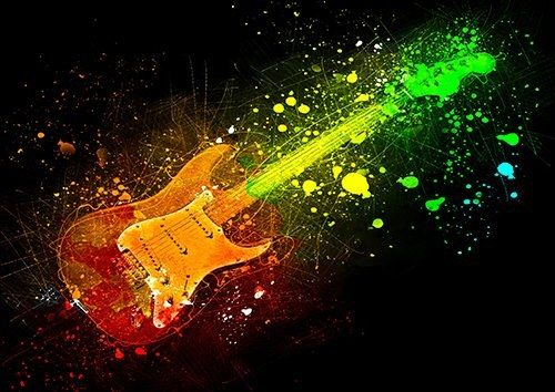 Guitar electric rainbow, Black colour - From £17.50 | Metal Plate Pictures