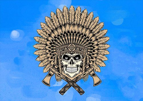 Indian skull art, Black colour - From £20.50 | Metal Plate Pictures