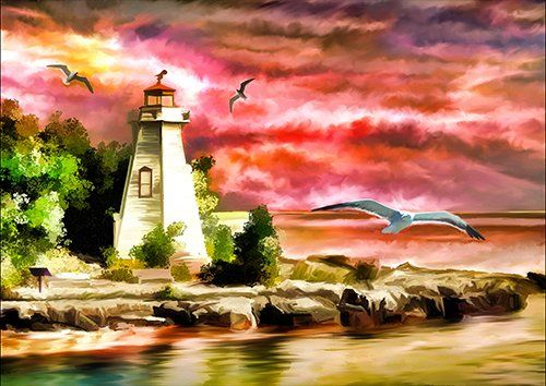 Lighthouse Ocean Sunset Seagulls Coast Beacon, Black colour - From £17.50 | Metal Plate Pictures