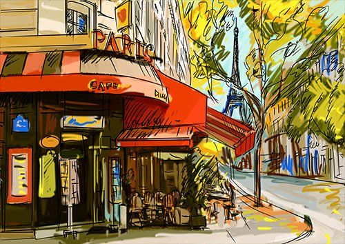 Paris cafe, Black colour - From £17.50 | Metal Plate Pictures
